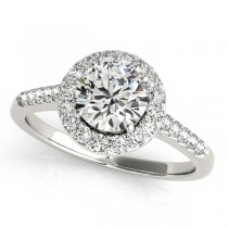 Halo Round Diamond Engagement Ring 18k White Gold (1.38ct)