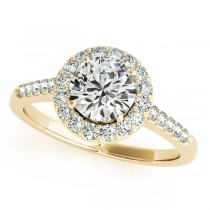 Halo Round Diamond Engagement Ring 18k Yellow Gold (1.38ct)