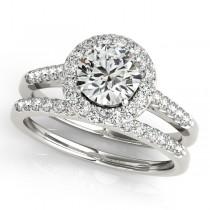 Halo Round Diamond Engagement Ring 14k White Gold (1.61ct)