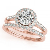 Halo Round Diamond Engagement Ring 18k Rose Gold (1.61ct)