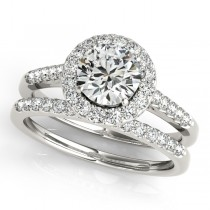 Halo Round Diamond Engagement Ring 18k White Gold (1.61ct)