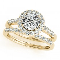 Halo Round Diamond Engagement Ring 18k Yellow Gold (1.61ct)