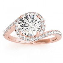 Diamond Halo Accented Engagement Ring Setting 18k Rose Gold 0.26ct