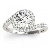 Diamond Halo Accented Engagement Ring Setting 18k White Gold 0.26ct
