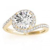 Diamond Halo Accented Engagement Ring Setting 18k Yellow Gold 0.26ct
