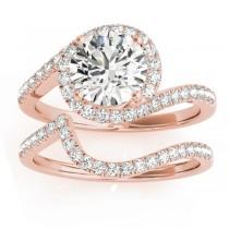 Diamond Halo Swirl Bridal Engagement Ring Set14k Rose Gold 0.43ct