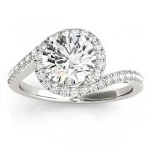 Diamond Halo Swirl Bridal Engagement Ring Set14k White Gold 0.43ct