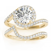 Diamond Halo Swirl Bridal Engagement Ring Set14k Yellow Gold 0.43ct
