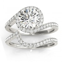 Diamond Halo Swirl Bridal Engagement Ring Set Palladium 0.43ct
