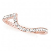 Diamond Contoured Wedding Band 18k Rose Gold 0.17ct