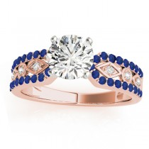 Diamond & Blue Sapphire Sidestone Accented Multirow Engagement Ring 18k Rose Gold (0.22 ct)