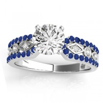 Diamond & Blue Sapphire Sidestone Accented Multirow Engagement Ring 18k White Gold (0.22 ct)
