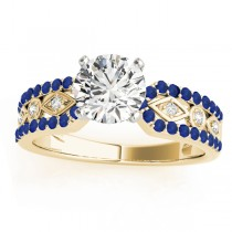 Diamond & Sapphire Engagement Ring Setting 18k Yellow Gold (0.22 ct)