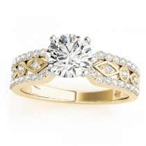 Diamond Multi-Row Engagement Ring Setting 18k Yellow Gold (0.22 ct)