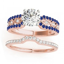 Diamond & Sapphire Bridal Set Setting 14k Rose Gold (0.38 ct)