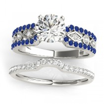 Diamond & Sapphire Bridal Set Setting 14k White Gold (0.38 ct)