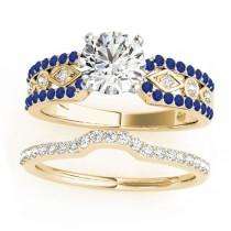 Diamond & Blue Sapphire Sidestone Accented Multirow Bridal Set 14k Yellow Gold (0.38 ct)