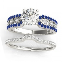 Diamond & Sapphire Bridal Set Setting 18k White Gold (0.38 ct)