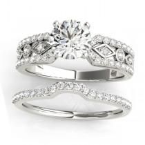 Diamond Sidestone Accented Multirow Bridal Set 14k White Gold (0.38 ct)
