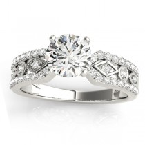 Diamond Accented Multi-Row Bridal Set Setting 14k White Gold (0.38 ct)