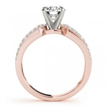 Diamond Accented Multi-Row Bridal Set Setting 18k Rose Gold (0.38 ct)