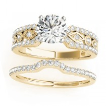 Diamond Accented Multi-Row Bridal Set Setting 18k Yellow Gold (0.38 ct)