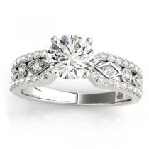 Diamond Sidestone Accented Multirow Bridal Set Platinum (0.38 ct)