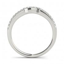 Diamond Contoured Wedding Band 14k White Gold (0.16 ct)