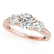 Three Stone Round Engagement Ring 14k Rose Gold (1.69ct)