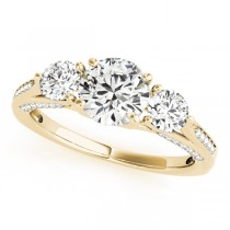 Three Stone Round Engagement Ring 14k Yellow Gold (1.69ct)