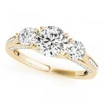 Three Stone Round Engagement Ring 14k Yellow Gold (1.69ct)