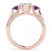 Three Stone Round Amethyst Engagement Ring 14k Rose Gold (1.69ct)