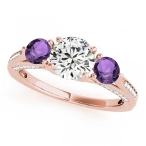Three Stone Round Amethyst Engagement Ring 18k Rose Gold (1.69ct)