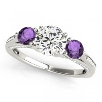 Three Stone Round Amethyst Engagement Ring 18k White Gold (1.69ct)