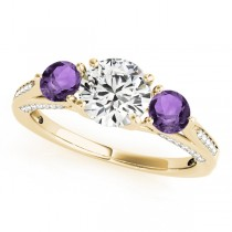 Three Stone Round Amethyst Engagement Ring 18k Yellow Gold (1.69ct)