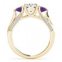 Three Stone Round Amethyst Engagement Ring 18k Yellow Gold (1.69ct)