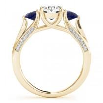 Three Stone Round Blue Sapphire Engagement Ring 14k Yellow Gold (1.69ct)