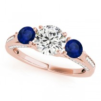 Three Stone Round Blue Sapphire Engagement Ring 18k Rose Gold (1.69ct)