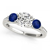 Three Stone Round Blue Sapphire Engagement Ring 18k White Gold (1.69ct)