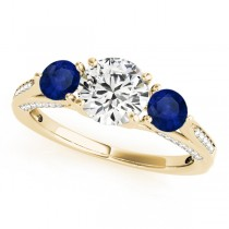 Three Stone Round Blue Sapphire Engagement Ring 18k Yellow Gold (1.69ct)