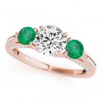 Three Stone Round Emerald Engagement Ring 14k Rose Gold (1.69ct)