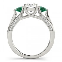 Three Stone Round Emerald Engagement Ring 14k White Gold (1.69ct)