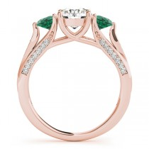 Three Stone Round Emerald Engagement Ring 18k Rose Gold (1.69ct)