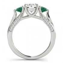 Three Stone Round Emerald Engagement Ring 18k White Gold (1.69ct)