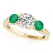 Three Stone Round Emerald Engagement Ring 18k Yellow Gold (1.69ct)