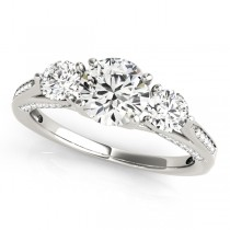 Three Stone Round Engagement Ring Palladium (1.69ct)