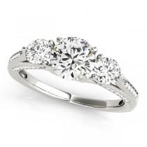 Three Stone Round Engagement Ring Palladium (1.69ct)