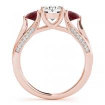 Three Stone Round Ruby Engagement Ring 14k Rose Gold (1.69ct)