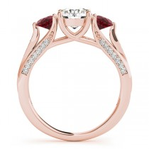 Three Stone Round Ruby Engagement Ring 18k Rose Gold (1.69ct)