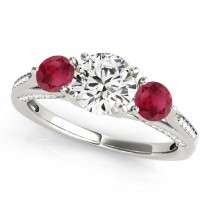 Three Stone Round Ruby Engagement Ring 18k White Gold (1.69ct)